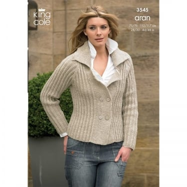 King Cole Fashion Aran Knitting Pattern 3545