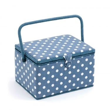 Large Denim Spot Sewing Box