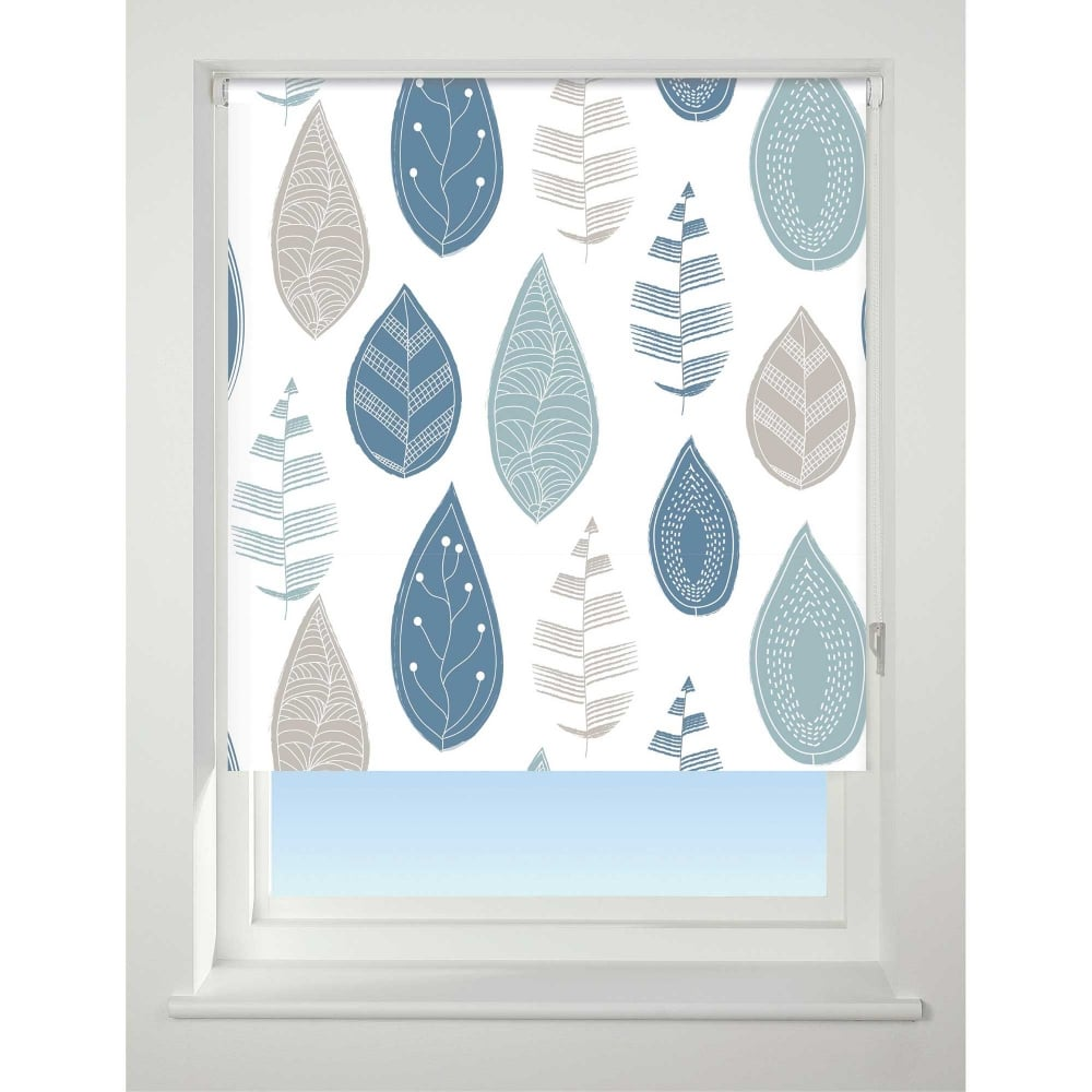 Leaf Blue Blackout Roller Blind Closs Amp Hamblin