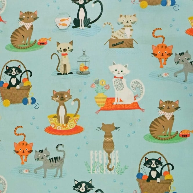 Light Blue Crafty Cats Cotton