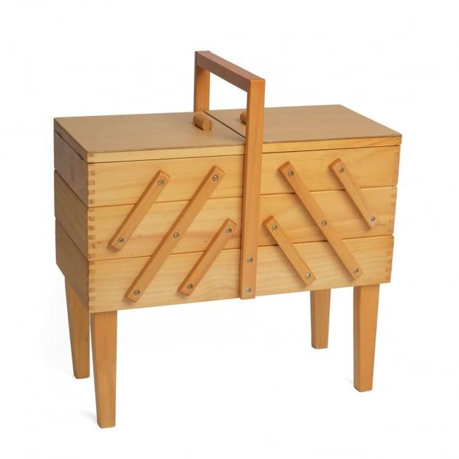 Light Wooden Cantilever Sewing Workbox