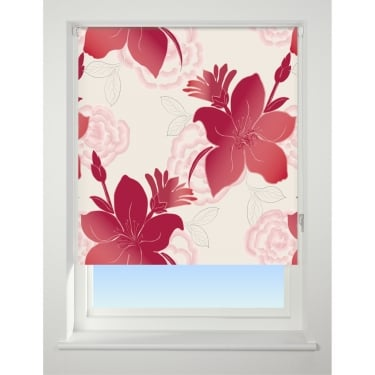 Lily Red Blackout Roller Blind - 60cm