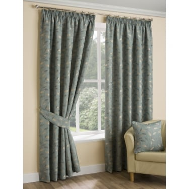 Loxwood Leaf Egg Shell Ready Made Curtains