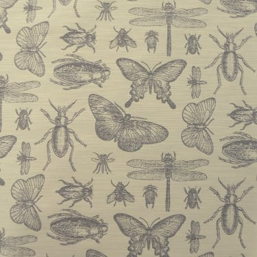 Marson Imports Bichos Silver Insect Curtain Fabric