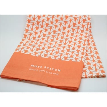 Moss Stitch Tea Towel Coral