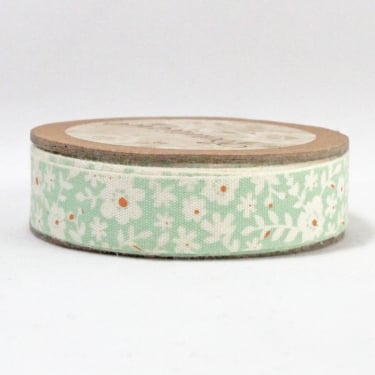 Natural Ribbon 15mm x 5m - Floral Green/Orange