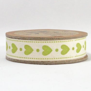 Natural Ribbon 15mm x 5m - Hearts Lime Green