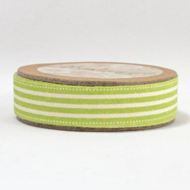 Natural Ribbon 15mm x 5m - Lime Green Stripe