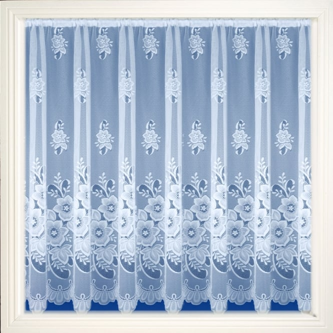 New York White Floral Net Curtain