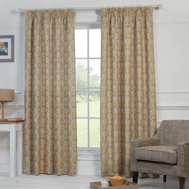 Nordic Birds Mustard Yellow Ready Made Curtains