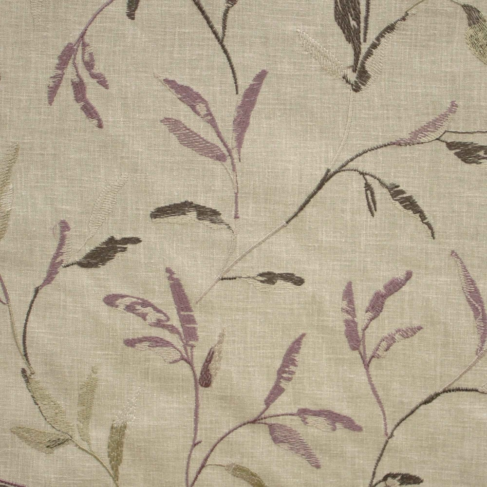 Norella mauve embroidered leaf curtain fabric closs