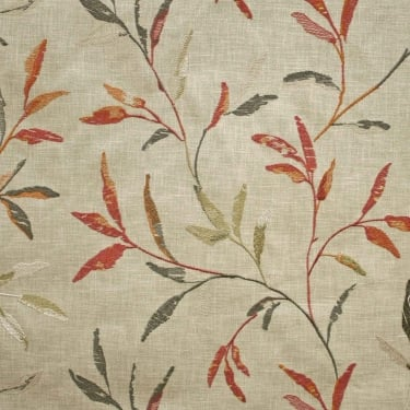 Norella Spice Embroidered Leaf Curtain Fabric