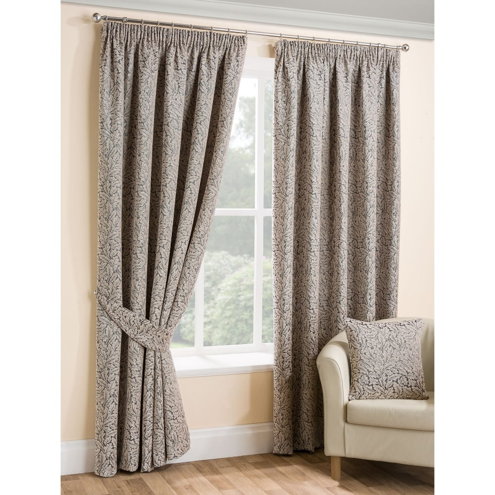 oak leaf grey ready made curtains living room closs. Black Bedroom Furniture Sets. Home Design Ideas
