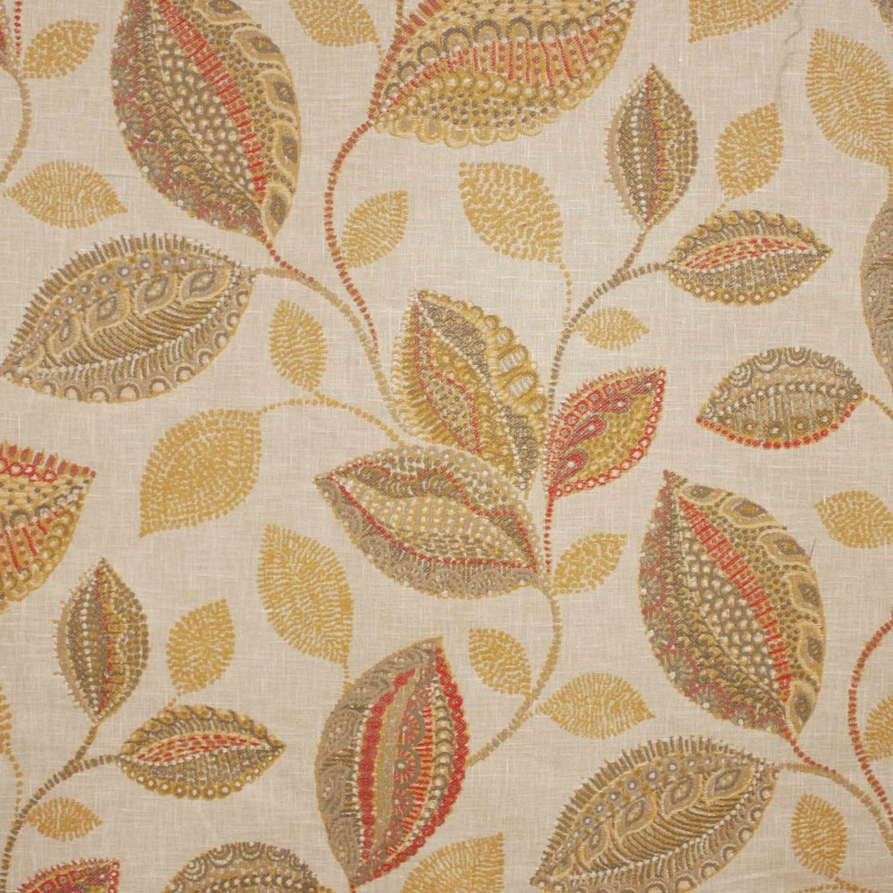 Oakley spice embroidered leaf curtain fabric closs hamblin