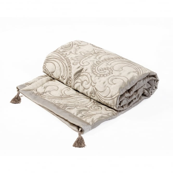 Paisley Natural Jacquard Quilted Throw