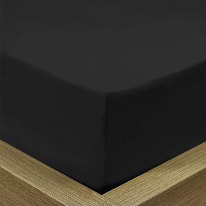 Percale Black Fitted Sheet - Double
