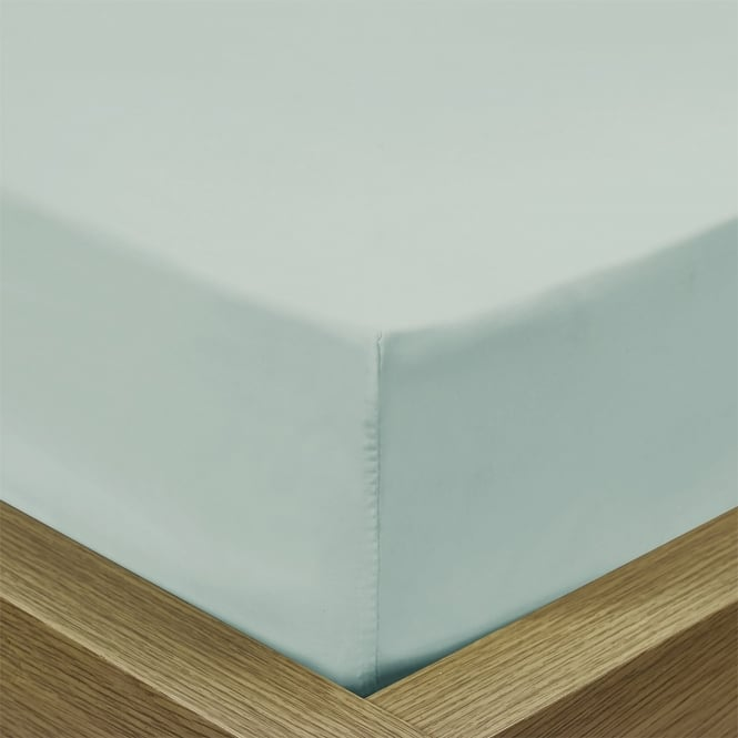 Percale Duck Egg Fitted Sheet - Super King Size