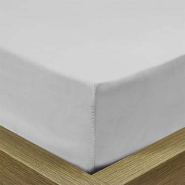 Percale Pale Silver Fitted Sheet - Double