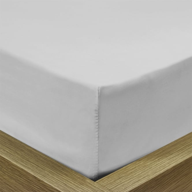 Percale Pale Silver Fitted Sheet - Single