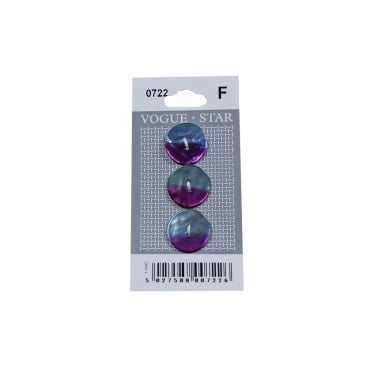 Purple/Blue Mother of Pearl Effect Buttons 0722 (Pack/3)