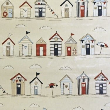 PVC Tablecloth - Beach Huts Blue