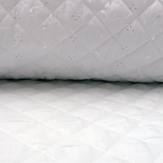Quilted Broderie Anglaise - White