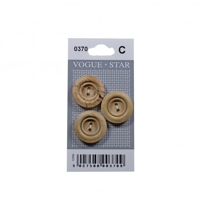 Rimmed Wooden Buttons 0370 (Pack/3)