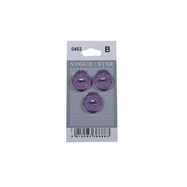 Round Purple Glitter Buttons 0462 (Pack/3)