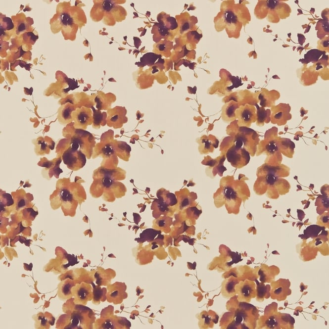 Sanderson DCFL221321 Mandarin Flowers Fig/Orange
