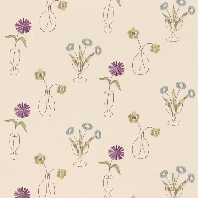 Sanderson DOIL230990 Cut Flowers Mauve/Cream