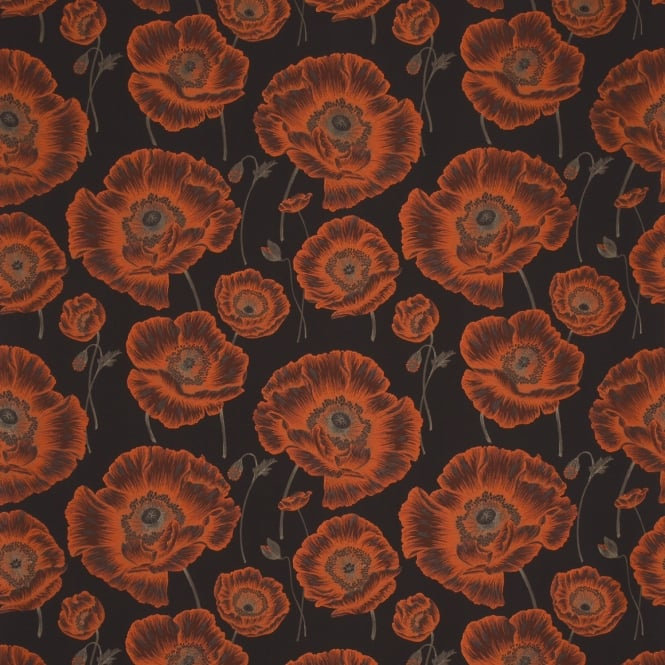 Sanderson DORIOR302 Oriental Poppy Chocolate/Orange