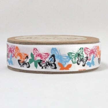 Satin Ribbon 15mm x 5m - Butterflies Multi