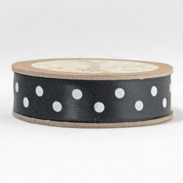 Satin Ribbon 15mm x 5m - Polka Dot Black
