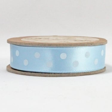 Satin Ribbon 15mm x 5m - Polka Dot Light Blue