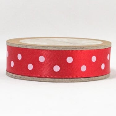 Satin Ribbon 15mm x 5m - Polka Dot Red