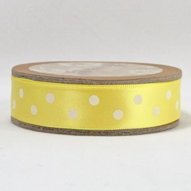 Satin Ribbon 15mm x 5m - Polka Dot Yellow