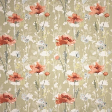 Shadow Flowers Dark Chintz Red Floral Curtain Fabric