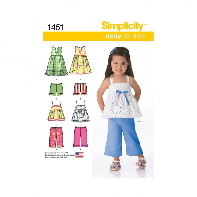Simplicity Sewing Pattern 1451 Size 6mths - 4 years
