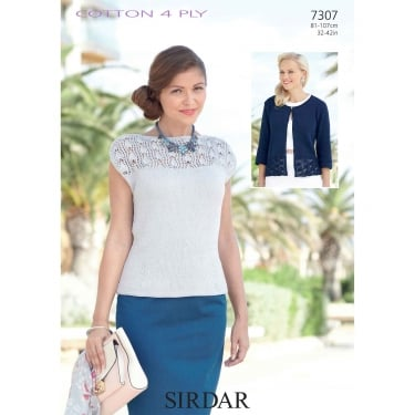 Sirdar Cotton 4 Ply Knitting Pattern 7307