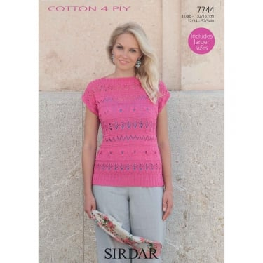 Sirdar Cotton 4 Ply Knitting Pattern 7744