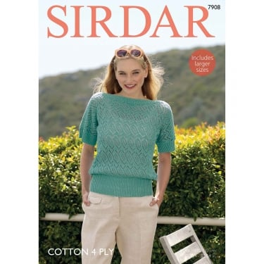 Sirdar Cotton 4 Ply Knitting Pattern 7908