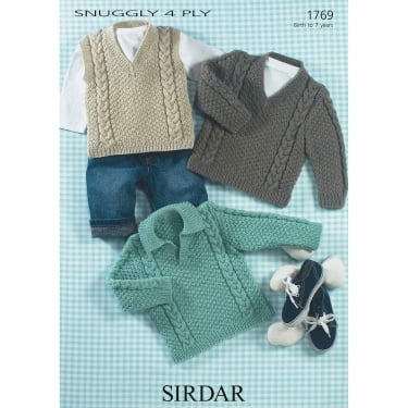 Sirdar Snuggly 4 Ply Knitting Pattern 1769