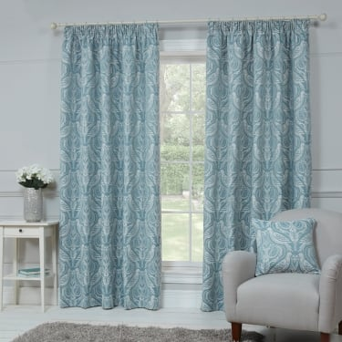 Dovecote Egg Shell Blue Bird Ready Made Curtains
