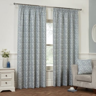 Willoughby Cornflower Blue Leaf Ready Made Curtains