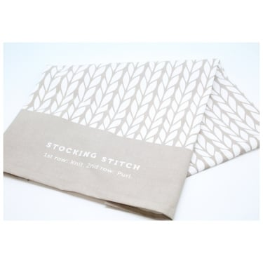 Stocking Stitch Tea Towel Grey