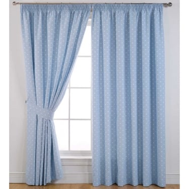 Dotty Powder Blue Ready Made Curtains