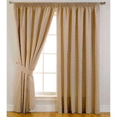 Dotty Taupe Ready Made Curtains