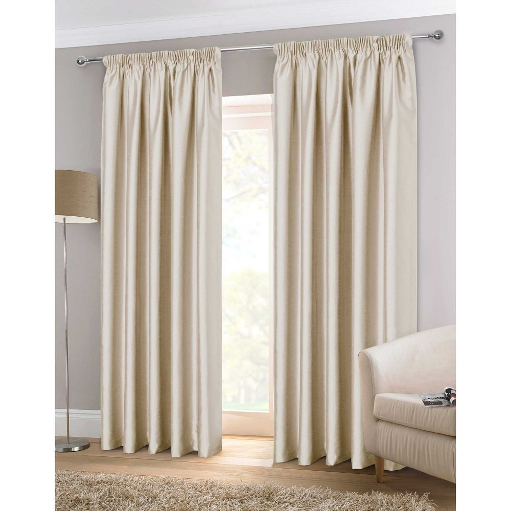 faux silk natural ready made curtains cream closs hamblin. Black Bedroom Furniture Sets. Home Design Ideas