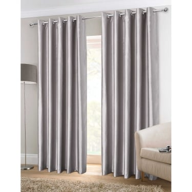 Faux Silk Silver Eyelet Ready Made Curtains