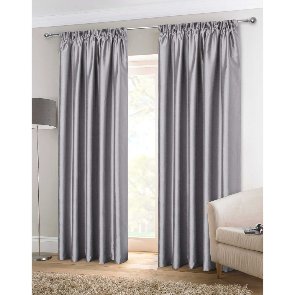 faux silk silver ready made curtains grey closs hamblin. Black Bedroom Furniture Sets. Home Design Ideas